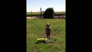 Running through the Tractor Sprinkler