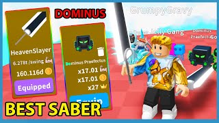 Buying The New Heaven Slayer Saber & Dominus Pet in Roblox Saber Simulator