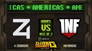 4Zoomers vs Infamous Game 2 - Monster Energy Dota Summit 13 Online NA/SA: Groups w/ rkryptic & Neph