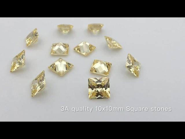 Canary Yellow color Cubic Zirconia Square Princess CZ Gemstones Wholesale