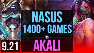 NASUS vs AKALI (TOP) | 2.2M mastery points, 1400+ games | NA Grandmaster | v9.21