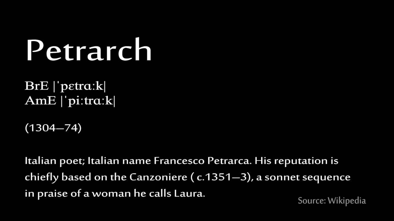 Petrarch sonnet 90. Petrarchan Sonnet: Rhyme Scheme ...