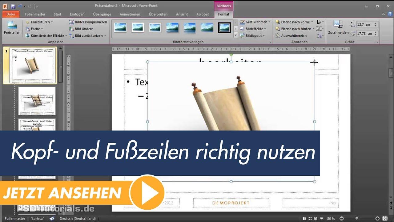 PowerPoint Tutorial: Kopf- und Fußzeilen richtig nutzen - YouTube