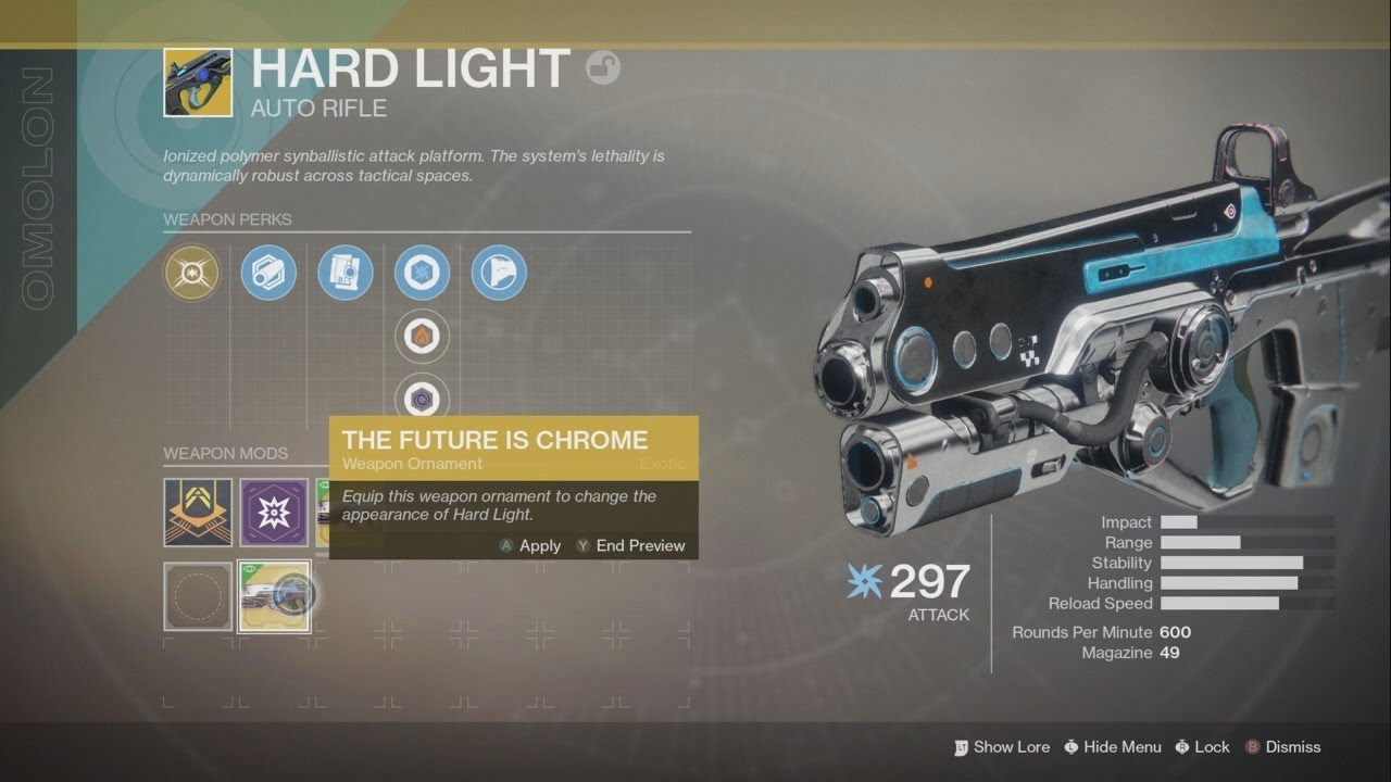 The FUTURE IS CHROME ORNAMENT HARD LIGHT DESTINY 2