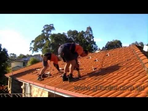 Solar Power Installation On Tiled Roof