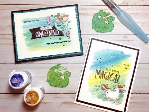 Magical Day Cards with Easy Brusho Crystal Color Watercolor Backgrounds