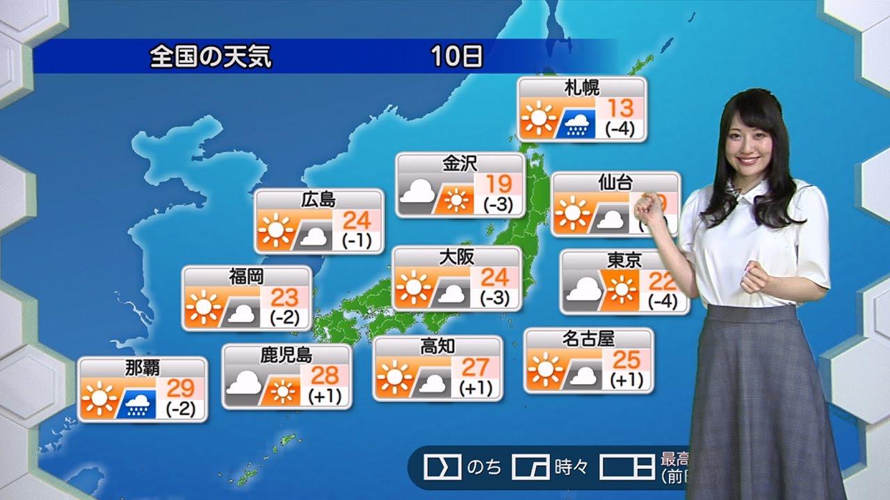 ☆お天気キャスター解説☆ 10月10日(月)の天気 - YouTube