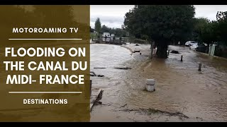Flooding on the Canal du Midi, France