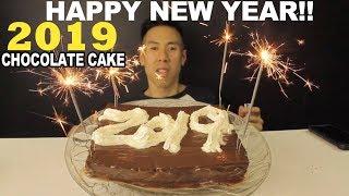 [MUKBANG] CHOCOLATE CAKE WITH WHIPPED CREAM AND CUSTARD-BIG BITES