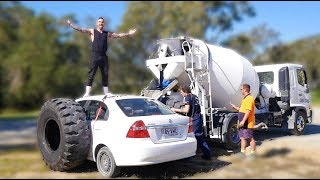 FILLING MY FRIENDS CAR WITH CONCRETE!!