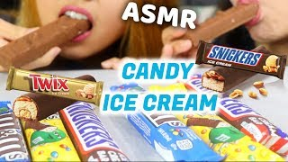 ASMR EATING CANDY ICE CREAM BARS (TWIX, SNICKERS, M&M'S) *CRUNCHY EATING SOUNDS* MUKBANG