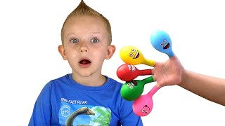 Martin Play Filling Water in Balloons Daddy Finger Nursery Rhymes | Learn Colors With Balloons