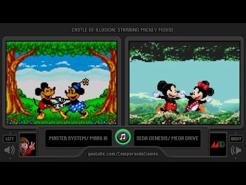 Castle of Illusion Starring Mickey Mouse (Master System vs Sega Genesis) SIde by Side Comparison