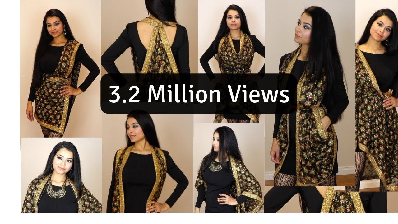 DIY  Style Dupatta in 6 Different ways HD - YouTube 00da45e4f