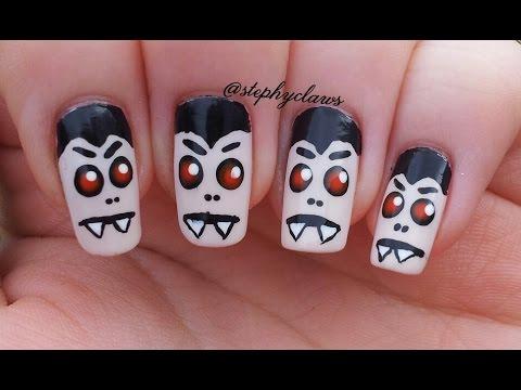 Easy Dracula / Vampire Nail Art Tuorial For Halloween