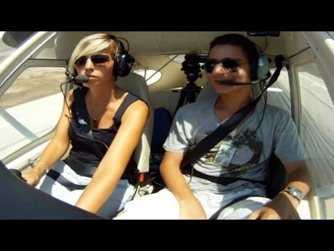Tecnam P92|Cockpit Takeoff from Larnaca|Short VFR Flight|Female pilot in action!