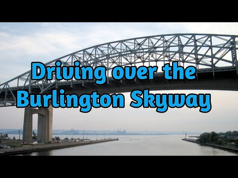 Driving over the Burlington Bay James Skyway in Hamilton and Burlington, Ontario