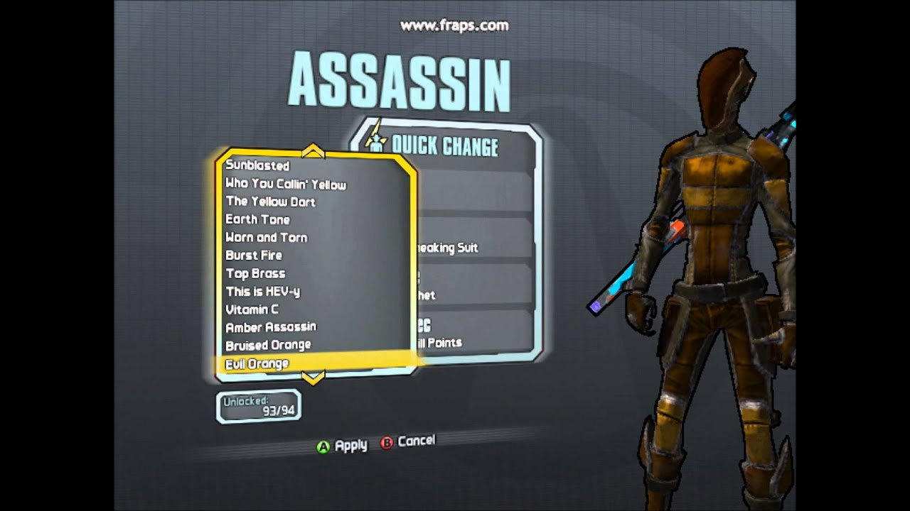 Borderlands 2: ALL ASSASIN (ZER0) SKINS AND HEADS - YouTube