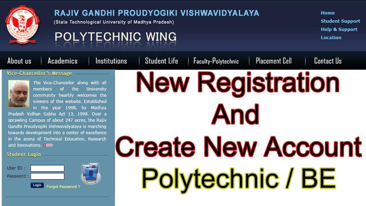 RGPV Diploma Polytechnic Registration Form Online 2018-19