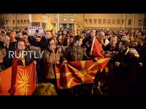 Macedonia: Nationalists march against foreign interference in domestic politics