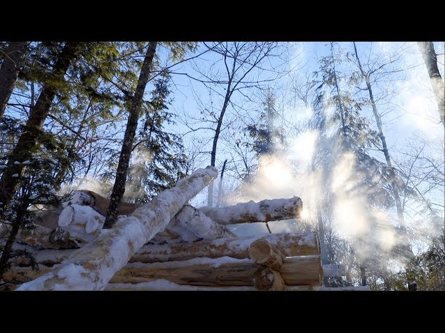 Log Cabin Building in the Winter | Tarp Shelter for the Sauna