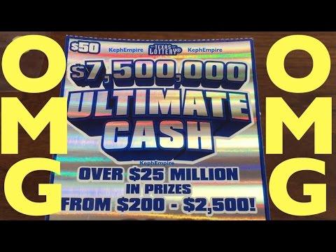 $50 SCRATCHER WITH $7,500,000 JACKPOT!!! ULTIMATE CASH Texas Lottery Scratcher