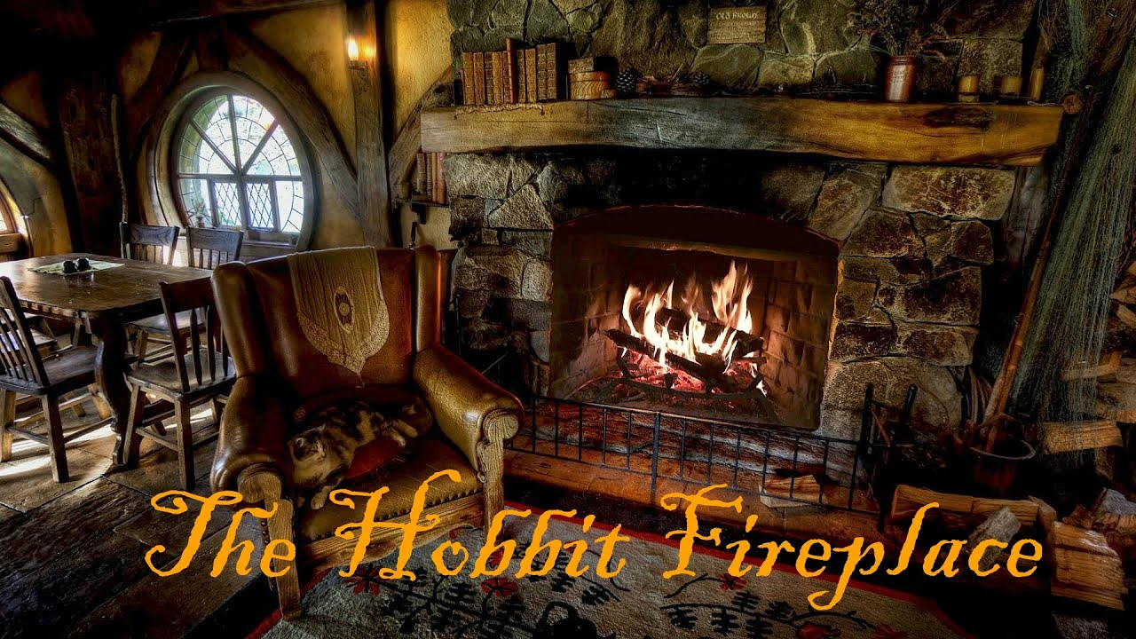 Snow Falling Desktop Wallpaper Hobbiton Movie Set Fireplace Ambience Featuring Pickles
