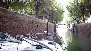 Crossing of paris speed boat via canal st martin spead boat
