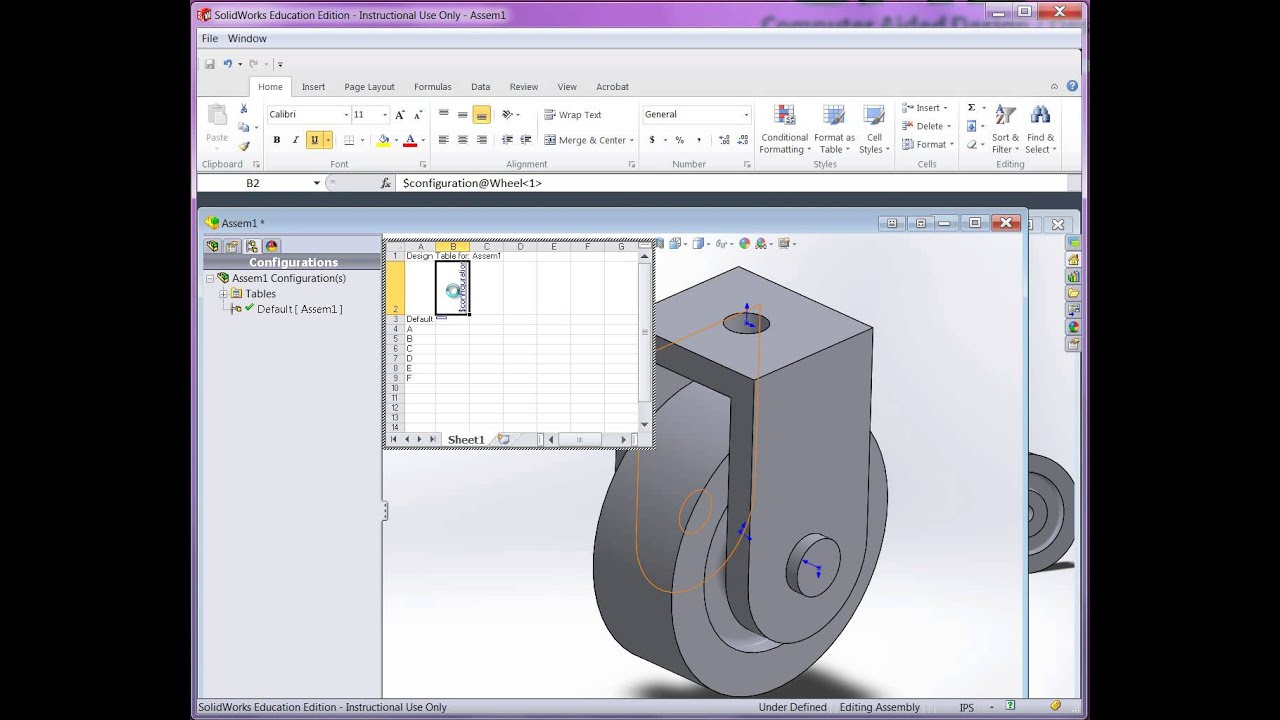 Using a design table to create assembly configurations for Design table not working solidworks
