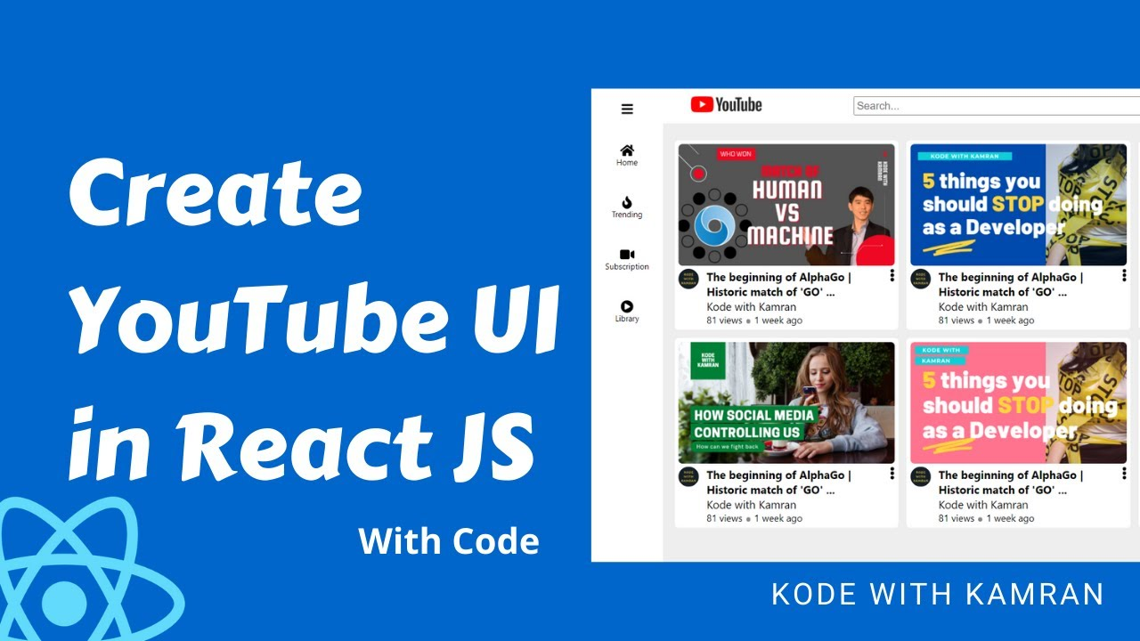 React JS Project   YouTube replica in react JS   source code of the project