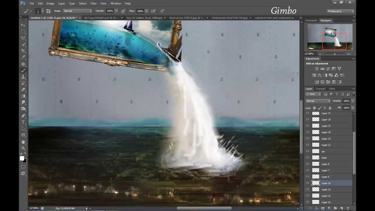 Photoshop - Frame Waterfall - YouTube