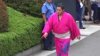 遠藤関が派手なピンクの浴衣で国技館へ登場。 人気力士なだけに一番の歓...