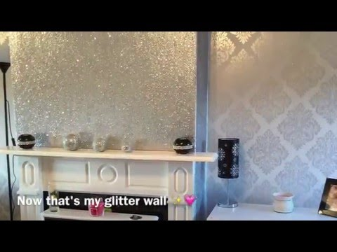 Decorating My Living Room! Glittery Fireplace Wall
