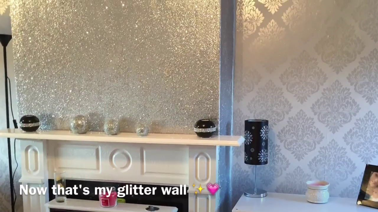 how to decorate a living room with fireplace and tv interior design ideas for rooms uk decorating my room! glittery wall - youtube