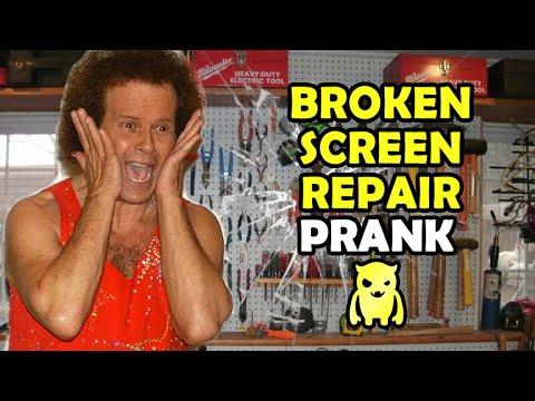 Broken screen repair prank ownage pranks youtube - How to do the broken tv screen prank ...
