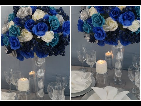 Tall Wedding Centerpiece / DIY / How To Create A Tall Blue Beauty Centerpiece