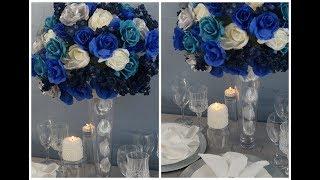 Tall Wedding Centerpiece / DIY / How To Create A Tall Blue Beauty Centerpiece