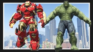 GTA 5 INCREDIBLE HULK Meets the HULK BUSTER! GTA 5 Mods Showcase!