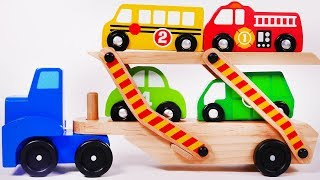 Learn your Colors with Car Transporter and Toy Vehicles for Children