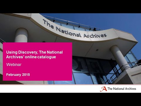 Webinar: Using Discovery, The National Archives' online catalogue