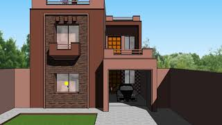 5 marla house plan with front design, 25 X 50 feet, style no 7, Plot No 301
