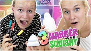 3 MARKER SQUISHY CHALLENGE Nina Vs Kathi mit 3 Farben Anti Stress Ball anmalen | Wer hat den Besten?