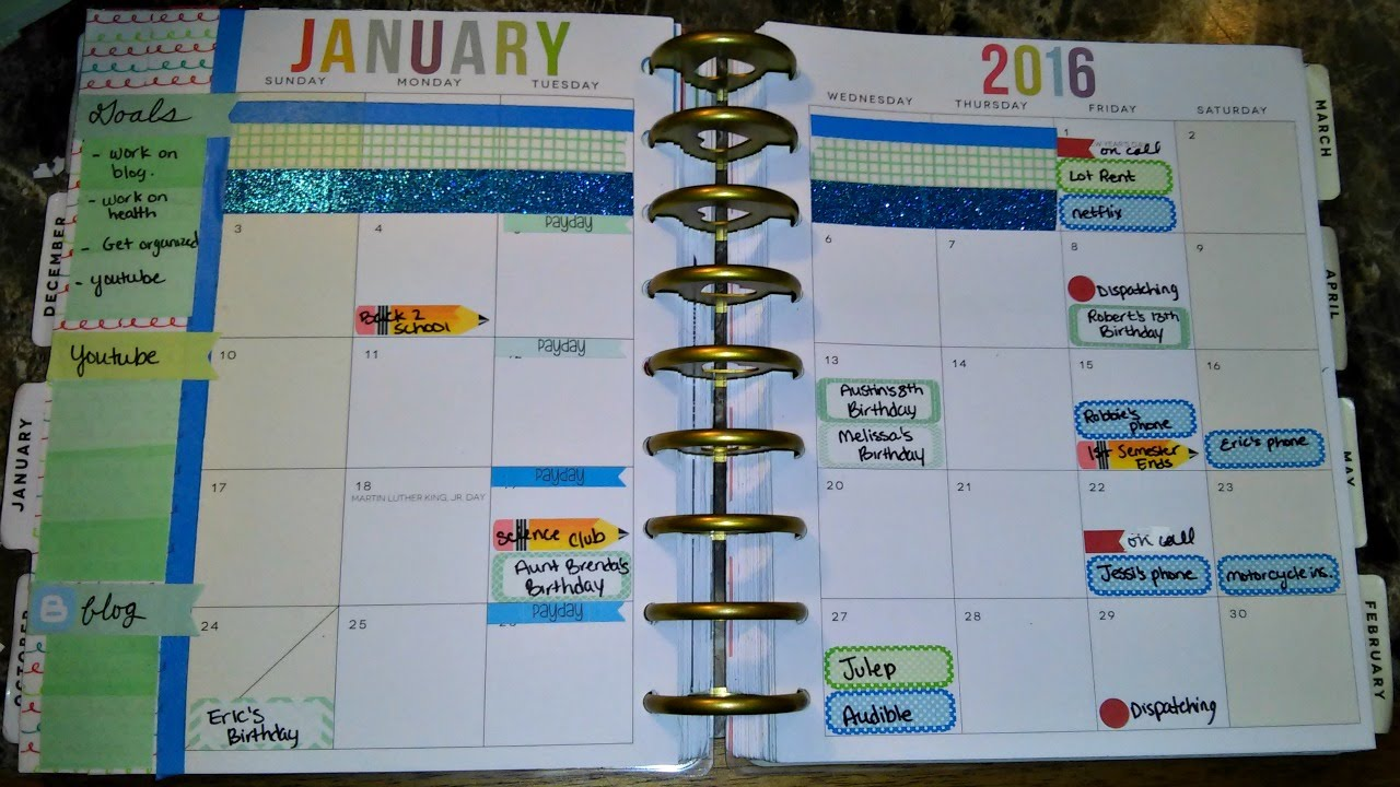plan with me january 2016 monthly spread happy planner youtube