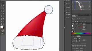 Santa hat in 3 minutes - Very easy Adobe Illustrator tutorial - Part3 - gradient mesh coloring
