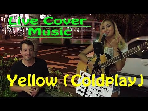Coldplay - Yellow - Live Cover Music in Hawaii (Guitar and cajon cover)