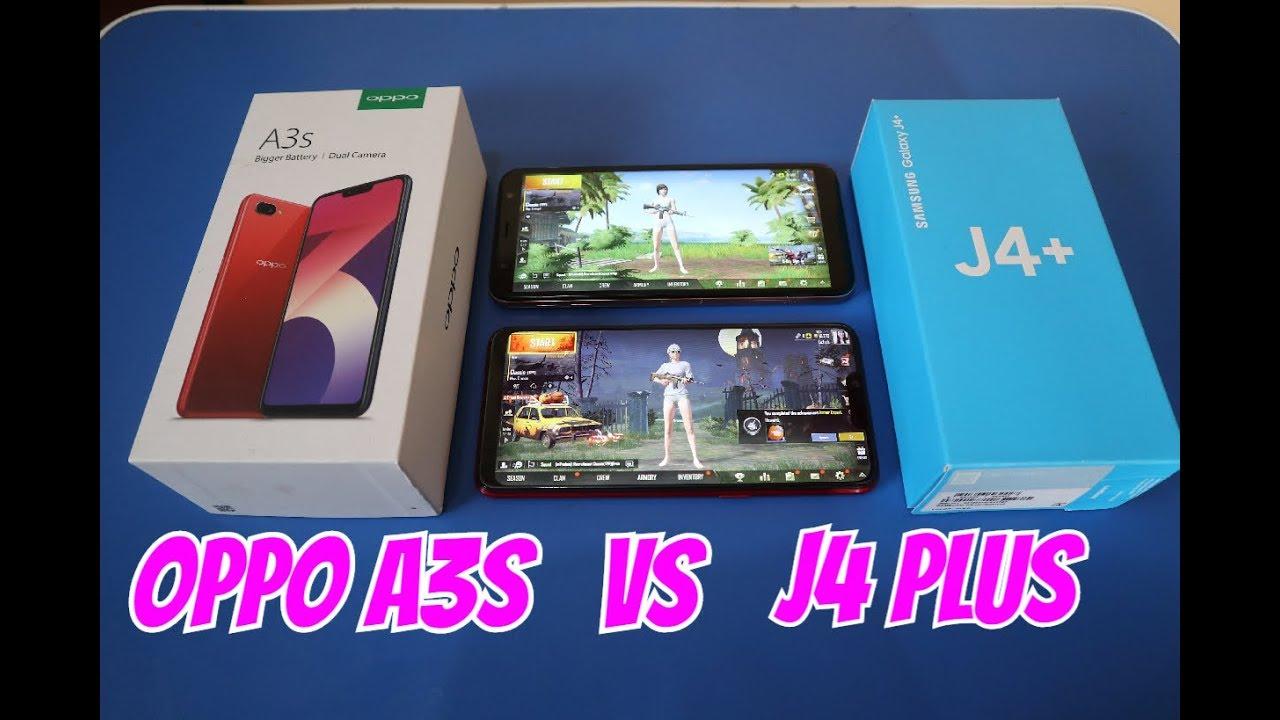 Oppo A3s VS Samsung J4 Plus (PUBG,Camera,Speed And Specs