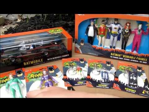 NJ Croce Batman Classic TV Series Bendable Figures and 1/24 Batmobile Bird Noises