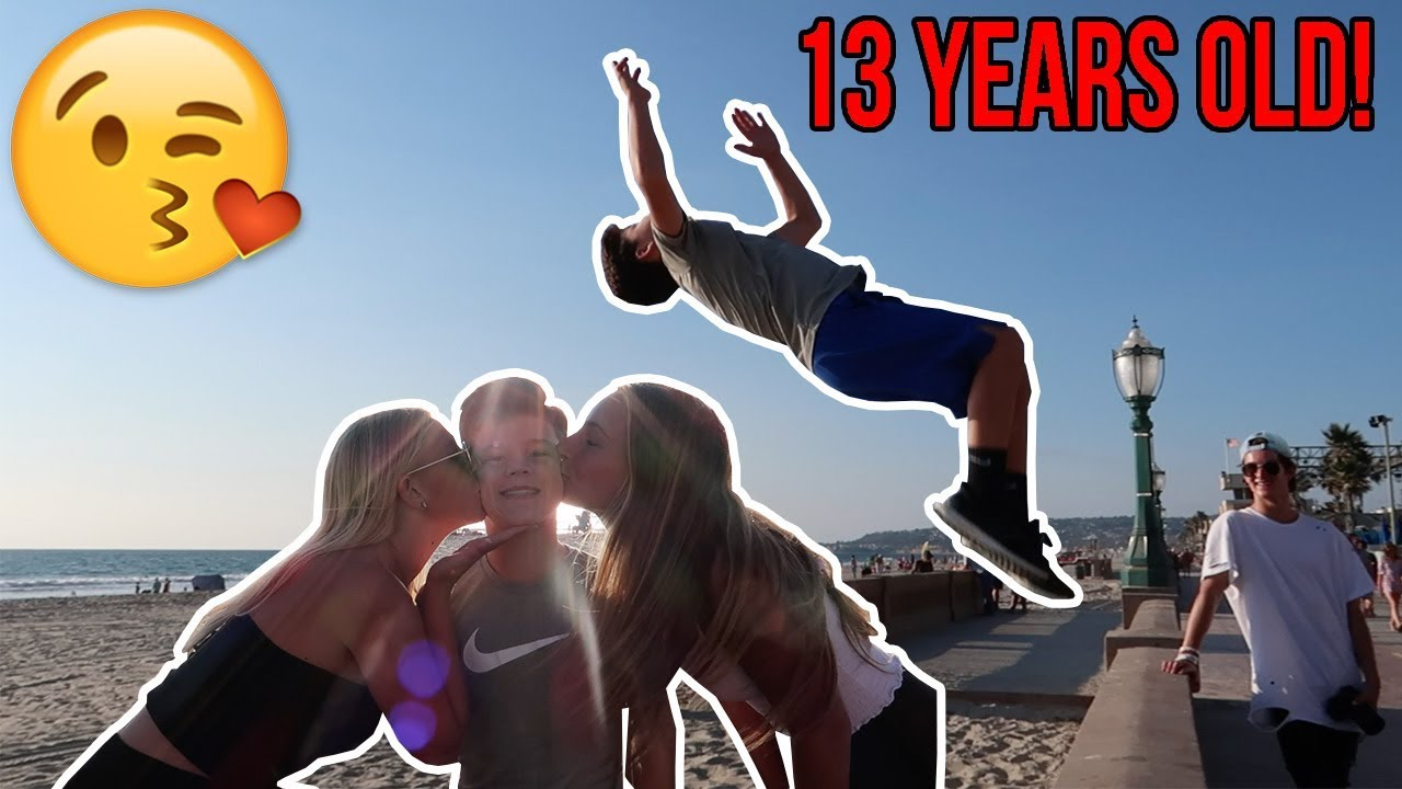 ac00ee1d1fa1 FLIPS FOR A KISS AT THE BEACH! - YouTube
