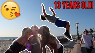 Video FLIPS FOR A KISS AT THE BEACH! download MP3, 3GP, MP4, WEBM, AVI, FLV September 2018