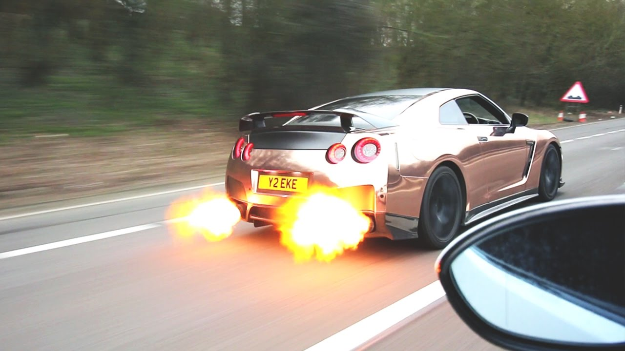 650HP RWD NISSAN GTR + CRAZY EXHAUST FLAMES!! - YouTube